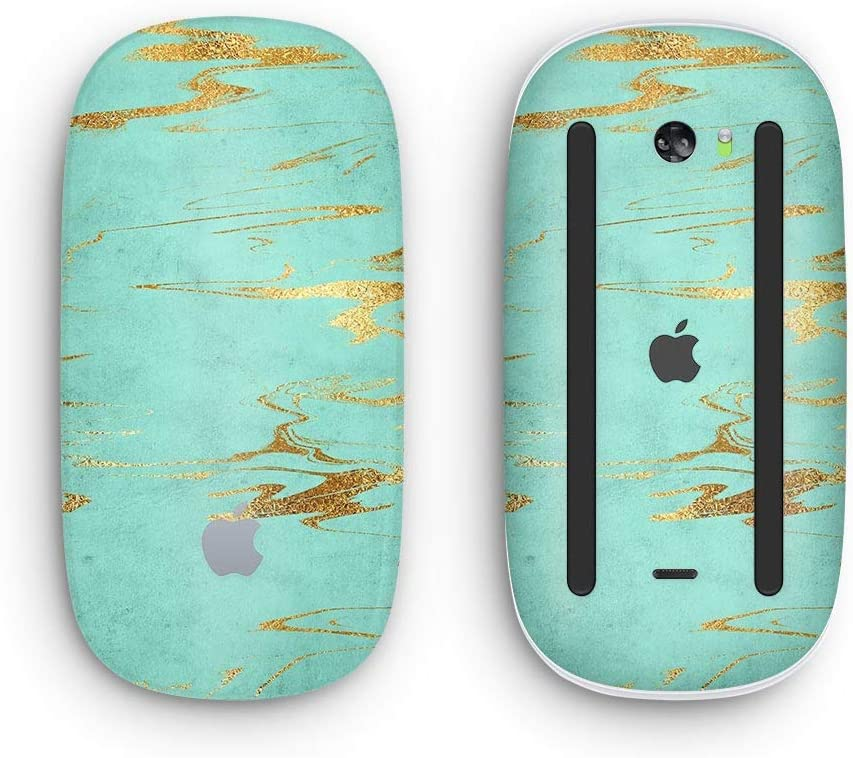Wireless, Rechargable Design Skinz Premium Vinyl Decal for The Apple Magic Mouse 2 Mint Marble /& Digital Gold Foil V2 with Multi-Touch Surface