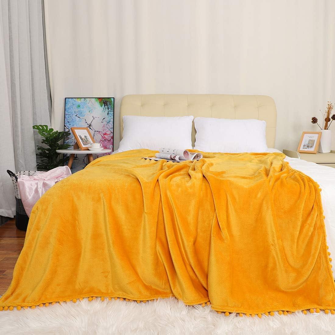 PiccoCasa Flannel Fleece Throw Blanket with Pompom Fringe Soft Warm Microfiber Sofa Throw Fuzzy Plush 330GSM Lightweight Decorative Solid Blanket for Sofa Couch Chair 50 x 59 Inch Slategray