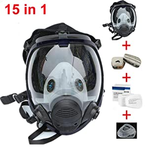 Muhubaih 15in1 Full Face Large Size Gas Dust Mask & Accessories (Gas Mask + Cotton Filter + Filter Cartridge + Filter Cover),Widely Used in Organic Gas,Paint spary, Chemical,Woodworking (black 15in1)