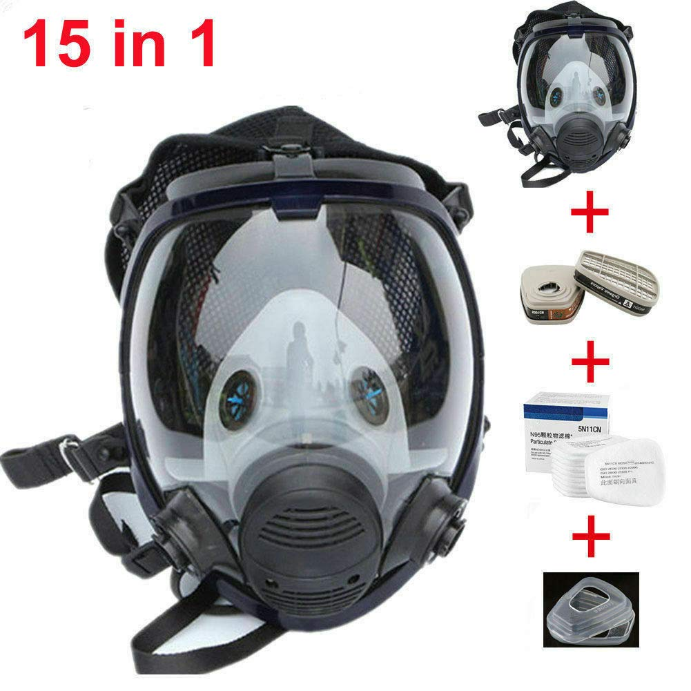 Muhubaih 15in1 Full Face Large Size Gas Dust Mask & Accessories (Gas Mask + Cotton Filter + Filter Cartridge + Filter Cover),Widely Used in Organic Gas,Paint spary, Chemical,Woodworking (black 15in1) by Muhubaih