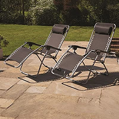 Kingfisher Reclining Zero Gravity Sun Lounger Chair Twin Pack