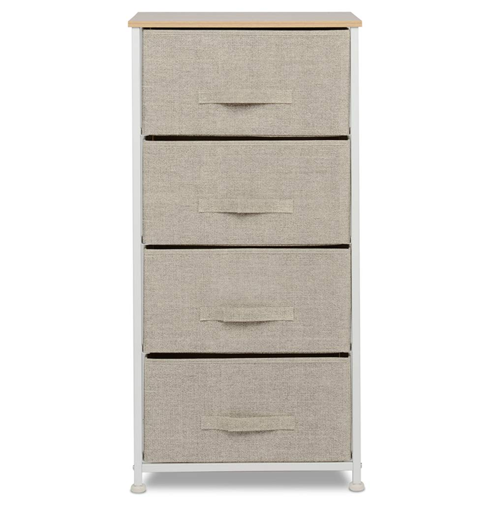 Vertical Dresser Storage Tower with 4 Drawers,Fabric Storage Tower,Sturdy Steel Frame, Wood Top, Easy Pull Fabric Bins,Organizer Unit by Urest