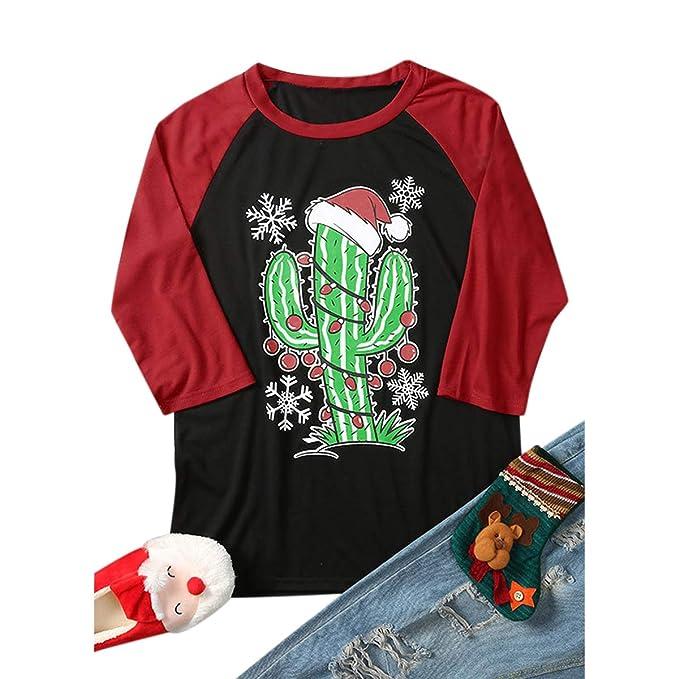 Camisetas de béisbol con Estampado de Cactus de Navidad para Mujer Top de Bloque de Color con Manga 3/4: Amazon.es: Ropa y accesorios