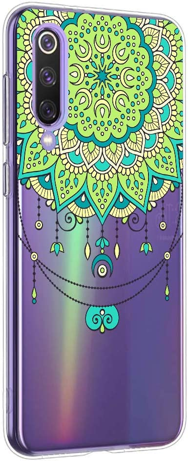 Oihxse Mandala Flores Encaje Patrón Serie Case Compatible con Xiaomi Mi 9 SE Funda TPU Silicona Suave Protector Ultra Slim Anti-Rasguño Transparente Carcasa (A2)