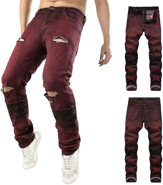 Hombre Pantalones Vaqueros Rotos,Pantalones Casual Streetwear de ...