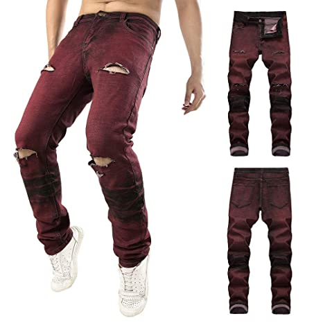 Hombre Pantalones Vaqueros rotos,Pantalones casual ...