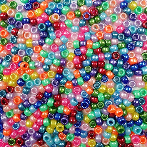 Rainbow Pearl Multicolor Mix Plastic Pony Beads Bulk 6x9mm, 1000 Beads