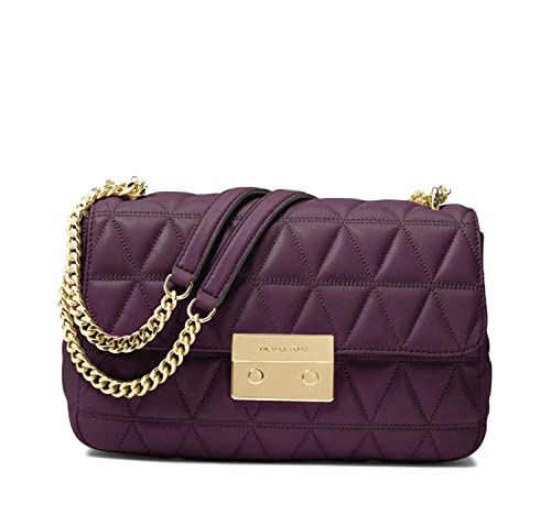 1edc588a54cc MICHAEL Michael Kors Sloan Large Quilted-Leather Shoulder Bag in Damson   Amazon.in  Shoes   Handbags