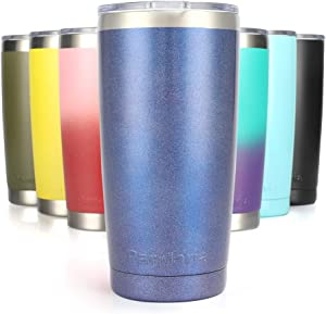 Pandaria 20 oz Stainless Steel Vacuum Insulated Tumbler with Lid - Double Wall Travel Mug Water Coffee Cup for Ice Drink & Hot Beverage, Shimmery Blue