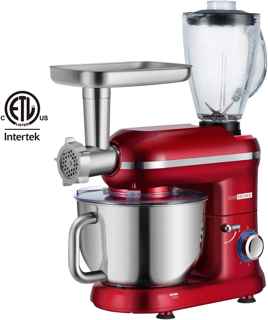 VIVOHOME 3 in 1 Multifunctional Stand Mixer with 6 Quart Stainless Steel Bowl, 650W 6-Speed Tilt-Head Meat Grinder Juice Blender, ETL Listed, Red