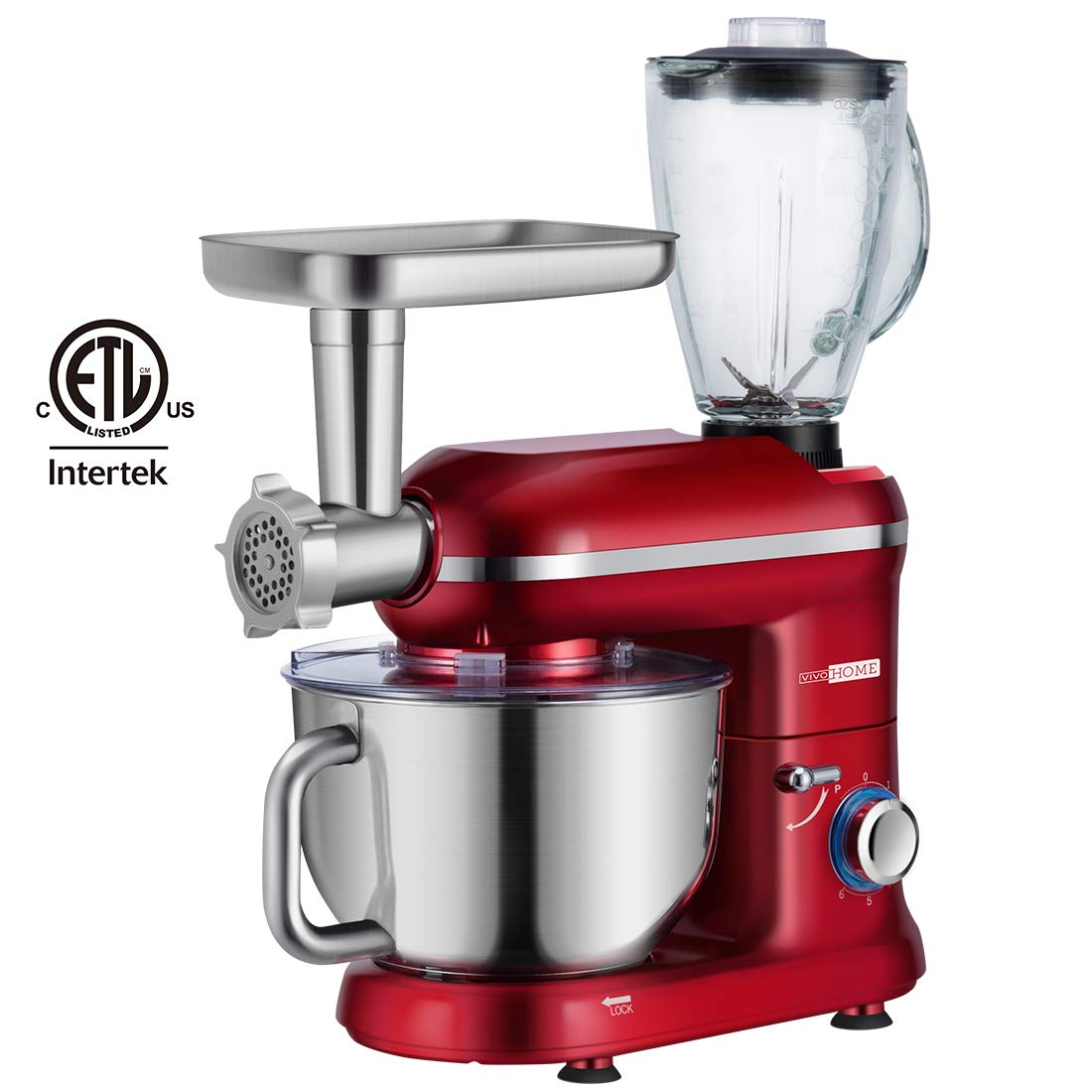 VIVOHOME Electric 650W Multi-functional 6-Speed Tilt-Head Stand Mixer Meat Grinder Juice Blender with 6 Quart Stainless Steel Bowl Red ETL Listed