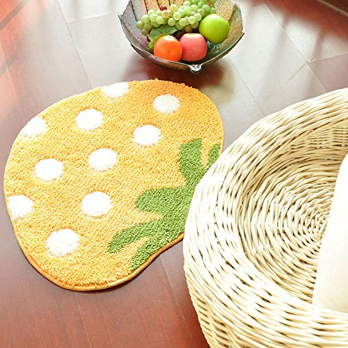 SANNIX Fruit Strawberry Bath rug mat Area Rug, Kitchen, Door & Bath Rug , Decorative, Stylish Designs-Yellow