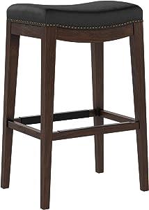"Amazon Brand – Stone & Beam Elden Leather Nailhead-Trim Saddle Kitchen Counter Backless Bar Stool, 30""H, Black"