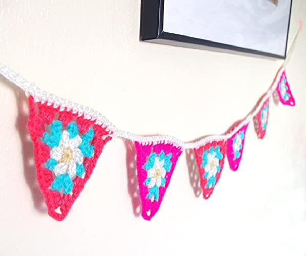 Guirlande fanion rose menthe marguerite - banderole 6 triangles à ...