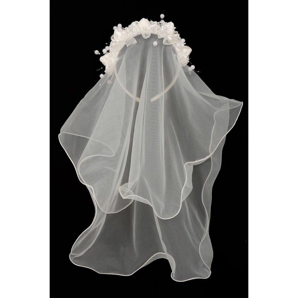 Girls Ivory Flower Pearl Crown Mesh Short Communion Flower Girl Veil