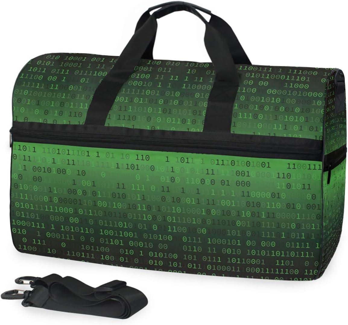 AHOMY Travel Duffel Bag Binary Code Internet Sports Gym Luggage Bags