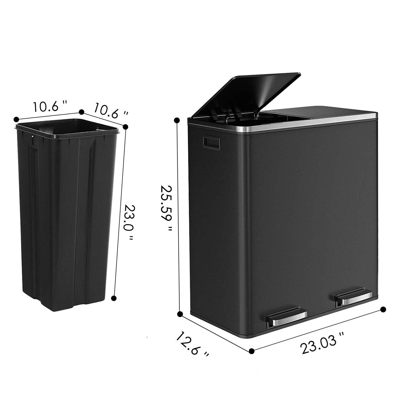 Amazon.com: HEMBOR - Cubo de basura doble de 16 galones (2 x ...