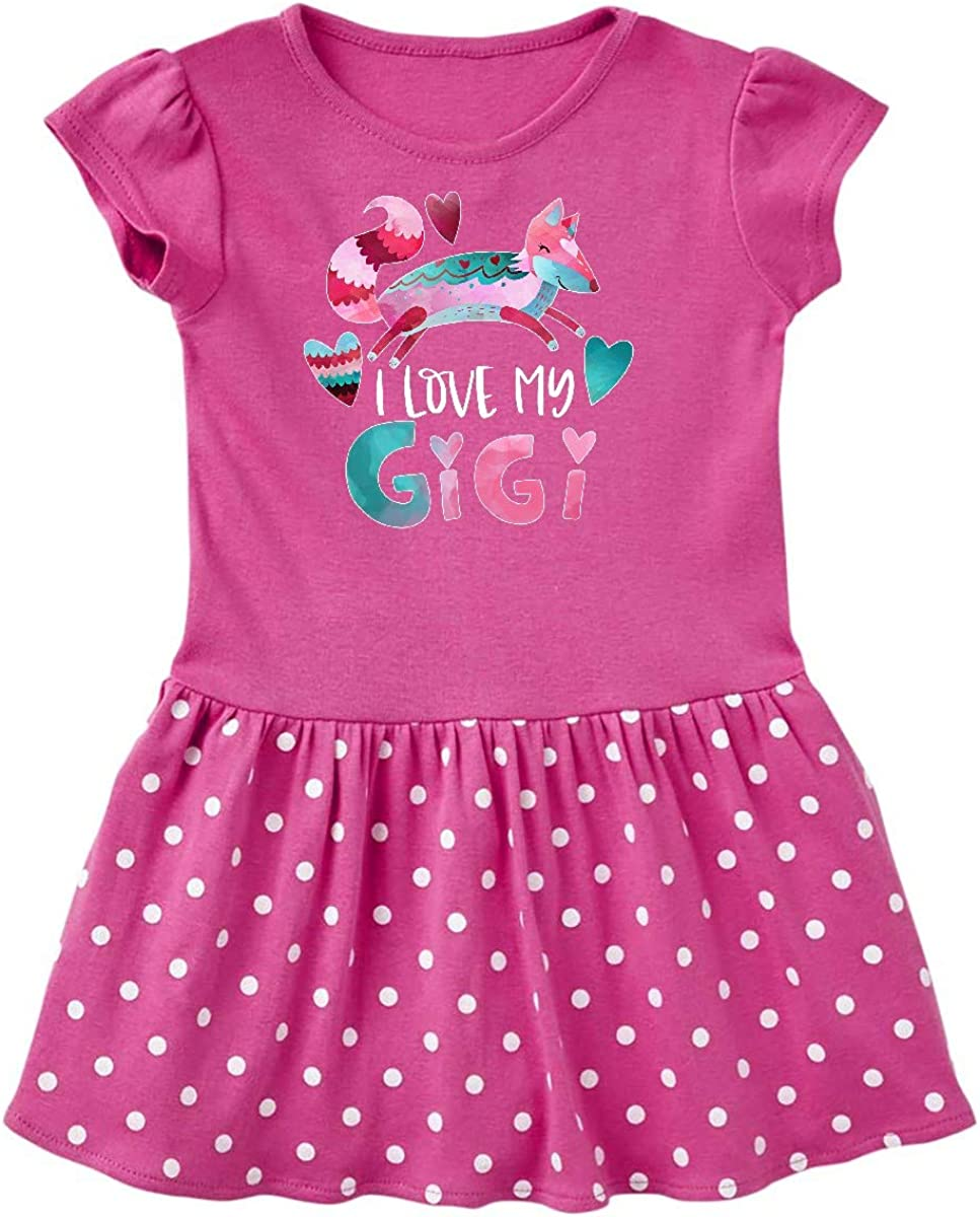 inktastic I Love My Gigi Pink and Blue Fox with Hearts Infant Tutu Bodysuit