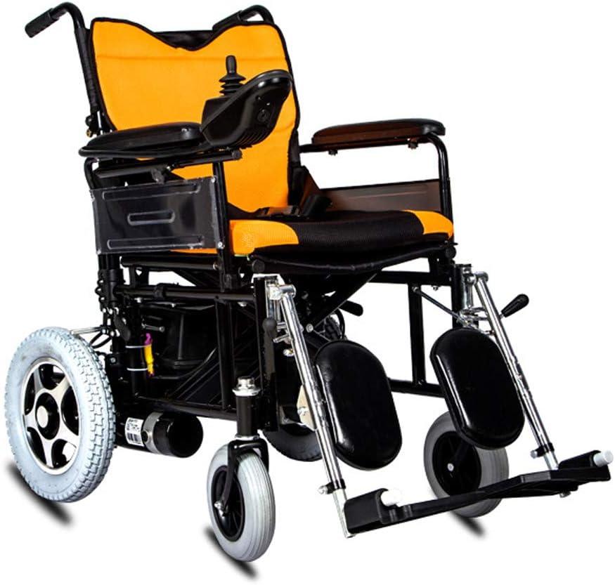 LYN&xxx Aluminio Silla de Ruedas, Plegable Ligero de sillón de Ruedas Mayor Silla de Ruedas eléctrica de Coches electromagnética Freno automático discapacitados Ligera para Scooter Plegable