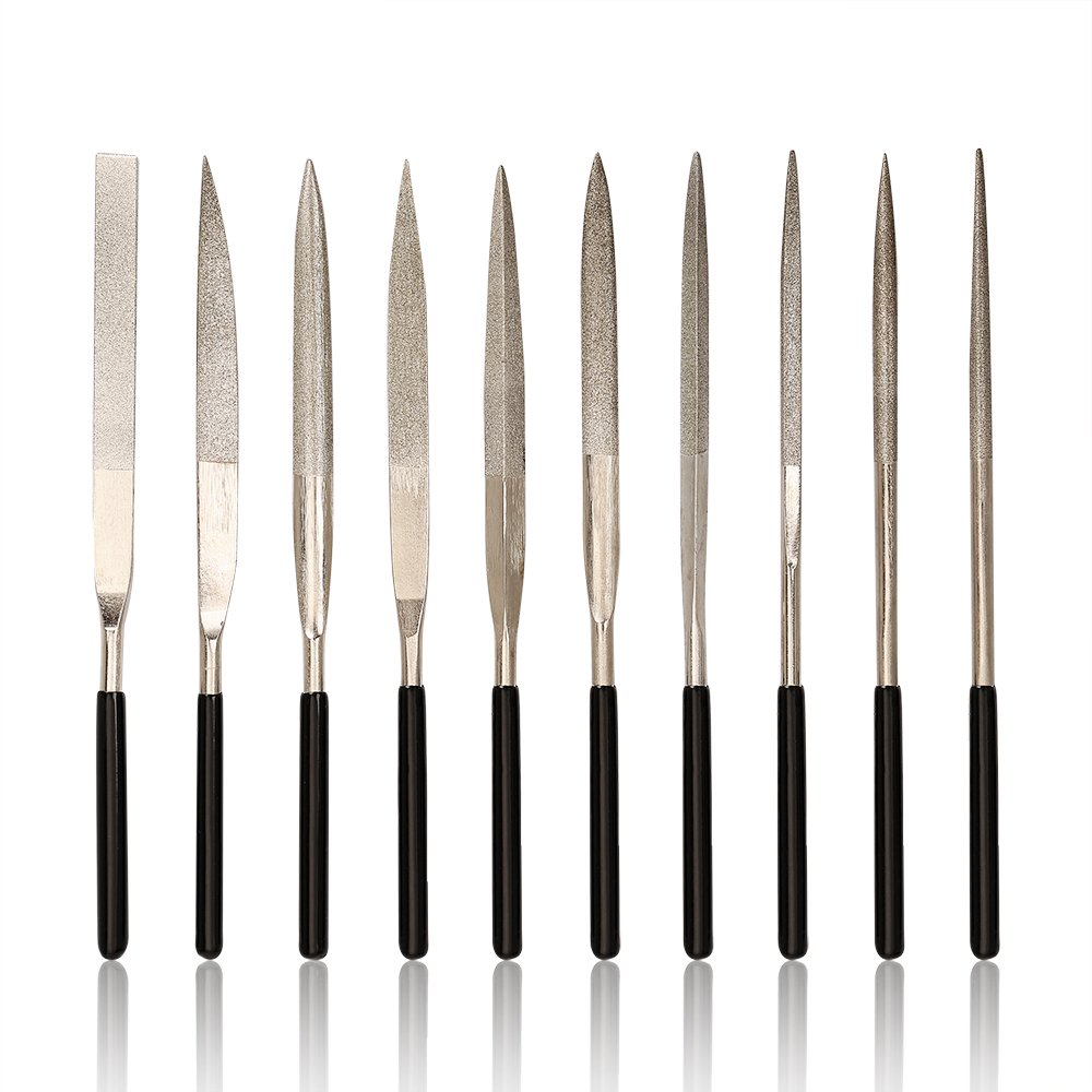 Diamond Needle File Set, Jewelers Hand Files Tool Kit for Metal Ceramic Stone Jewelry Rough Carving Glass Filing (10-Piece)