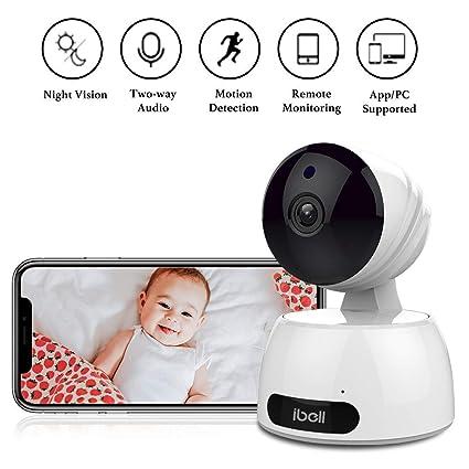 Cámara de vigilancia con WiFi 720hp, detección de movimiento, infrarrojos de visión nocturna,