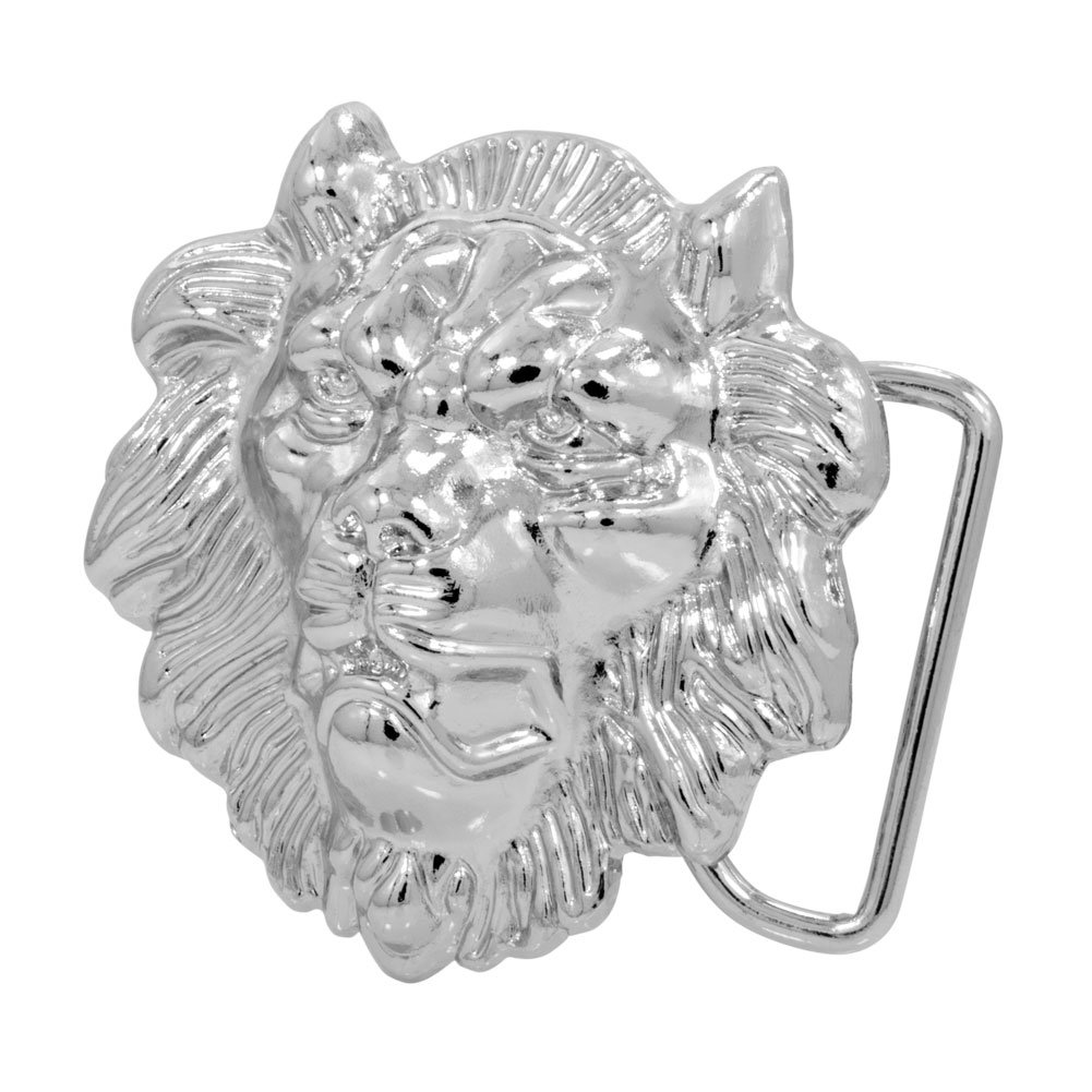 ae58a183751 Buckle Rage Adult Men s 3D Lion Head Belt Buckle- Metallic Silver   Amazon.in  Clothing   Accessories