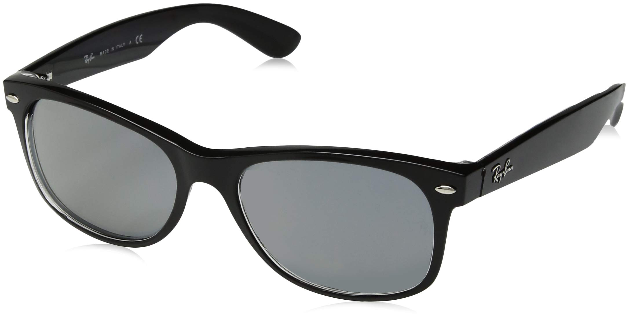 Ray-Ban RB2132 New Wayfarer Sunglasses, Black & Transparent/Blue Mirror Gold, 55 mm