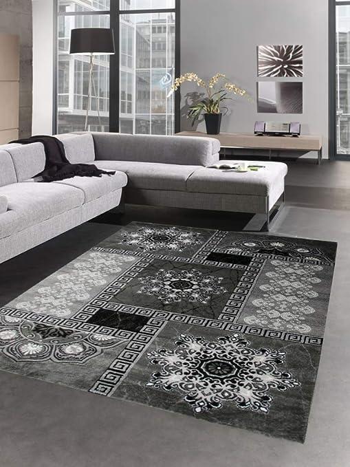 Teppich modern Ornamente mit Glitzer Grau Schwarz Creme