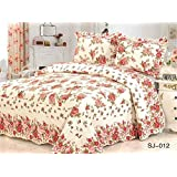 Newrara Patchwork Quilt Set Red Rose Queen Size 100% Cotton Bedspread\ Bed Cover