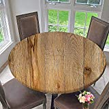 PINAFORE HOME Round Premium Table Cloth Weathered Wood Surface with Long Boards Lined up Wooden Planks Perfect for Indoor, Outdoor 47.5''-50'' Round (Elastic Edge)