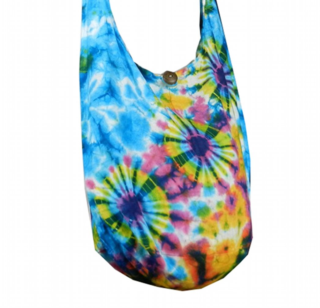 BTP! Tie Dye Sling Crossbody Shoulder Bag Purse Hippie Hobo Cotton Bohemian Colorful Firework (Triple Blue VI-1)