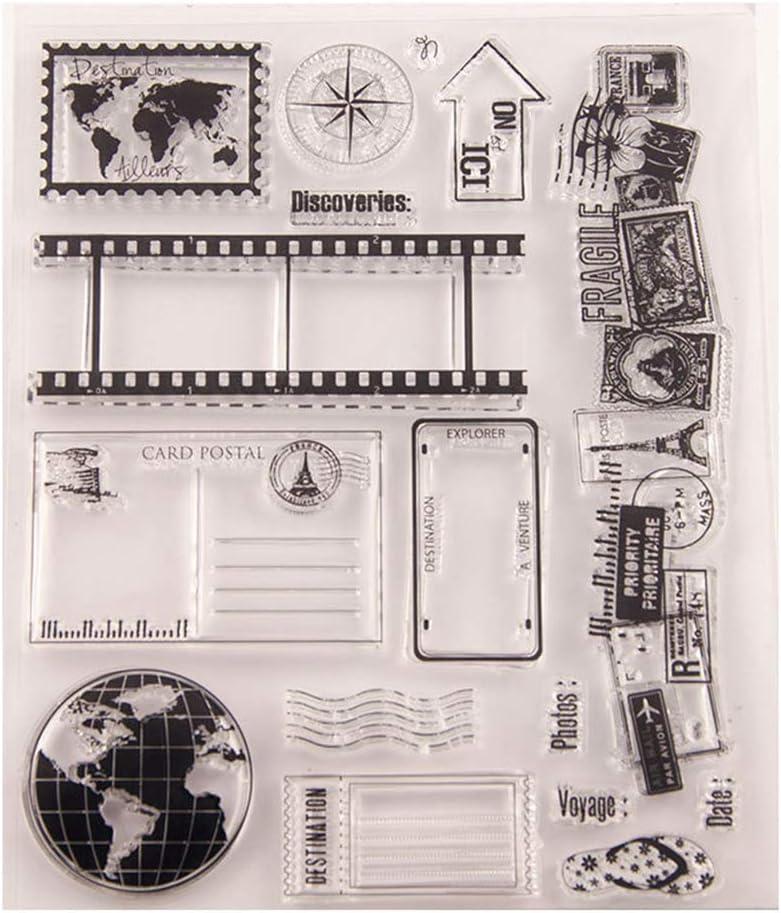 AIUIN Sellos Scrapbooking Clear Stamp Herramientas de Viaje Sello Transparente Hoja De Sello De Silicona para álbum De Tarjetas De Arte De Scrapbook DIY álbum: Amazon.es: Juguetes y juegos