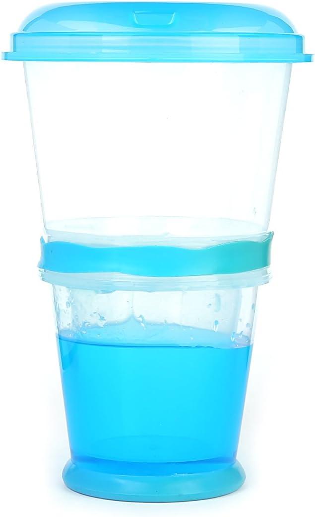 Incluida Cuchara Plegable Muesli To Go Color: Azul Taza T/érmica para Cereales//Granola para Viajes con Compartimento Refrigerado para Leche o Yogur