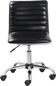 BTEXPERT Swivel Mid Back Armless Ribbed Designer Task Chair, Leather Soft, Upholstery Office Chair, Black