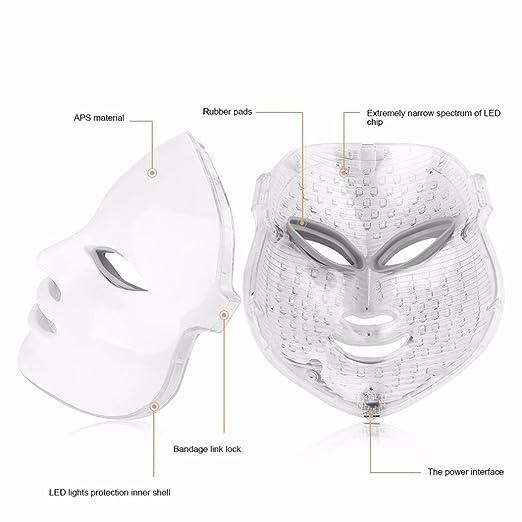 [nueva versión 2018] Havenfly 3 color LED máscara fotón luz piel rejuvenecimiento blanqueamiento facial belleza diaria cuidado de la piel (blanco): ...