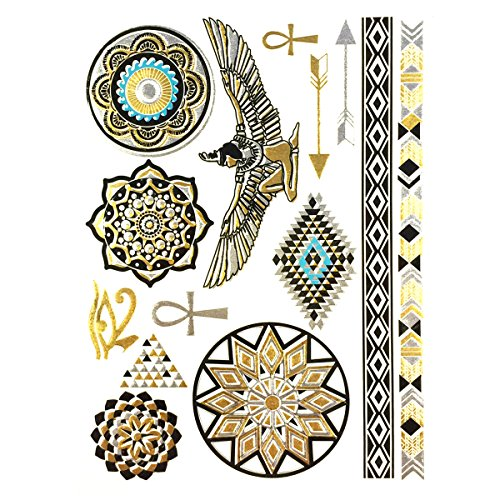 Wrapables Celebrity Inspired Temporary Tattoos in Metallic Gold Silver and Black, Large, Pharaoh (Celebrity Jewelry Inspired)