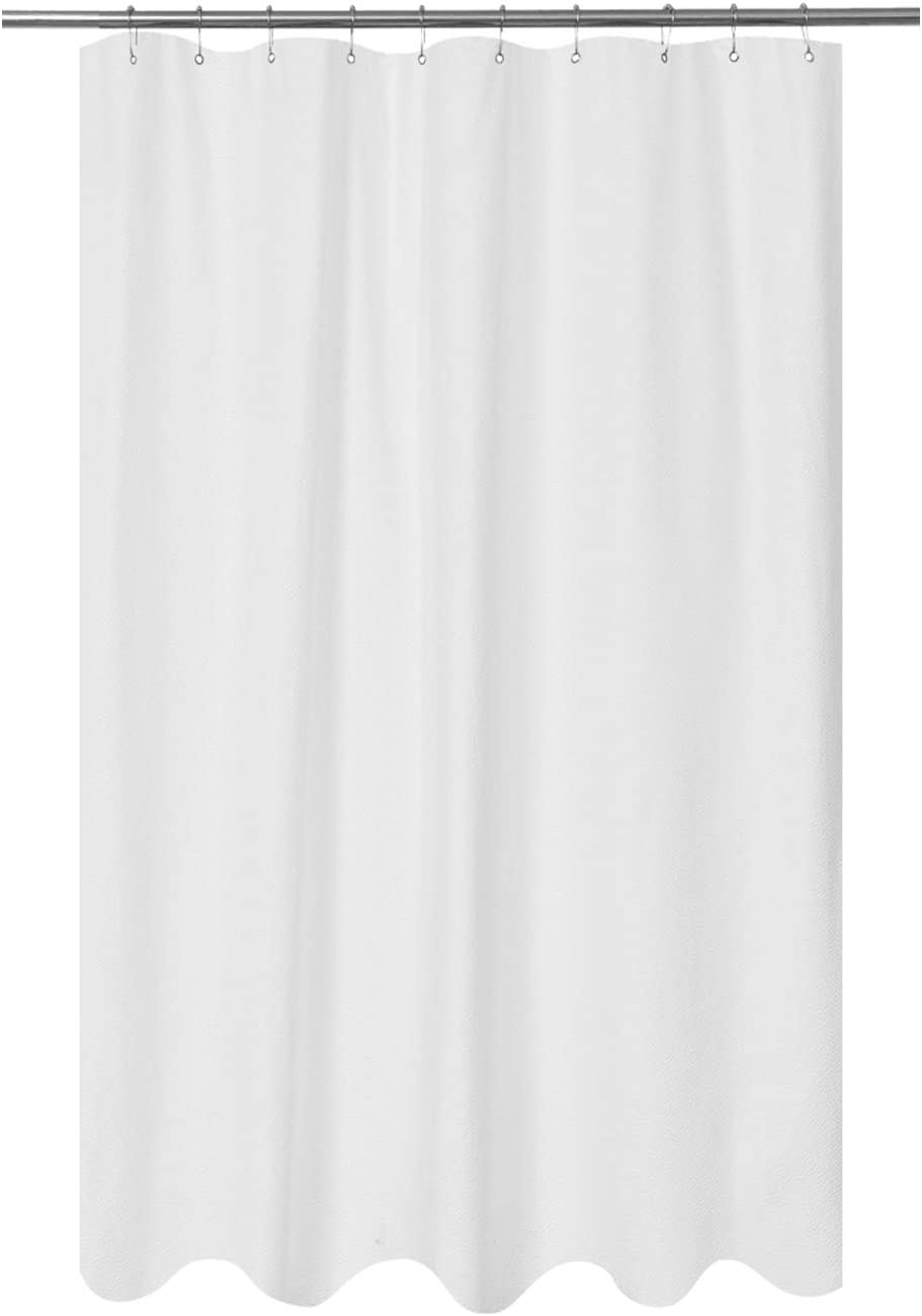 Mrs Awesome Embossed Microfiber Fabric Stall Shower Curtain Liner 54 x 72 inch, Washable and Water Repellent, White