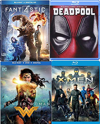 DeadX Mutant Super Hero Movie Pack X-Men Days of Future Past + Deadpool Blu Ray & Marvel Fantastic Four + DC Comics Wonder Woman 4 Film Feature