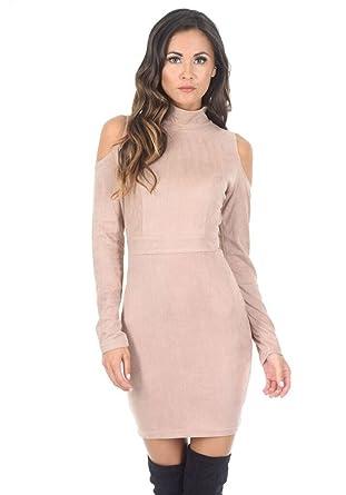 92b5045c19e2 AX Paris Women's High Neck Cold Shoulder Faux Suede Mini Dress(Stone, Size: