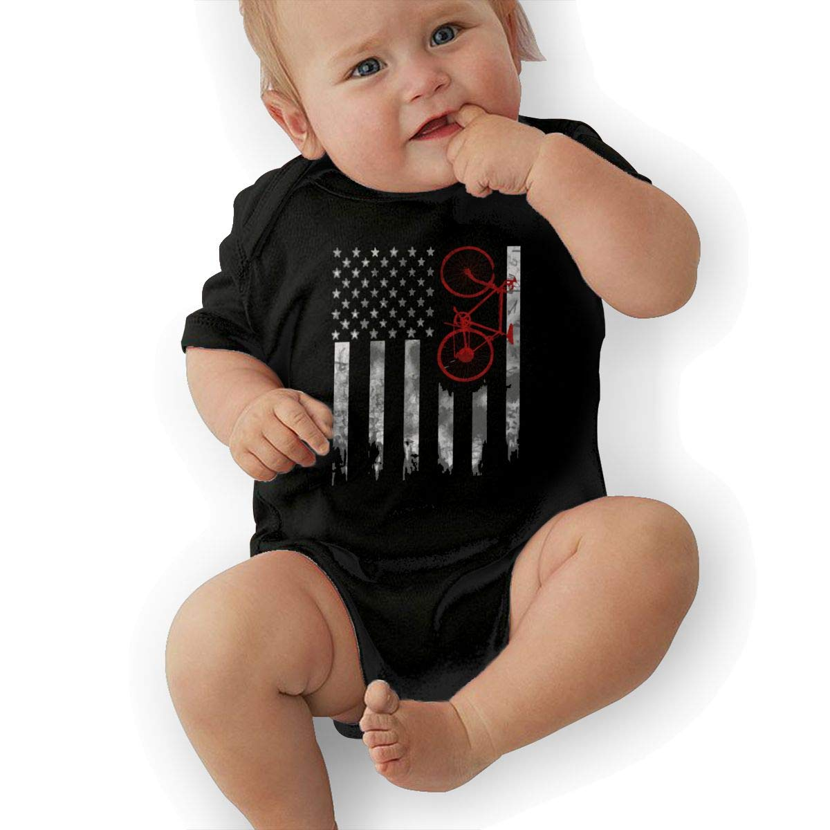 Short Sleeve Cotton Bodysuit for Baby Boys and Girls Cute Bicycle Flag Playsuit