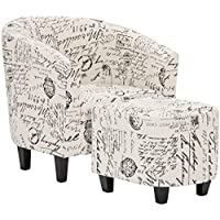 Best Choice Products Modern Contemporary Upholstered Barrel Accent Chair w/Ottoman, Wood Legs - White, French Print