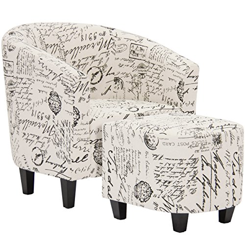 Best Choice Products Modern Contemporary Upholstered Barrel Accent Chair w/ Ottoman – White French Print