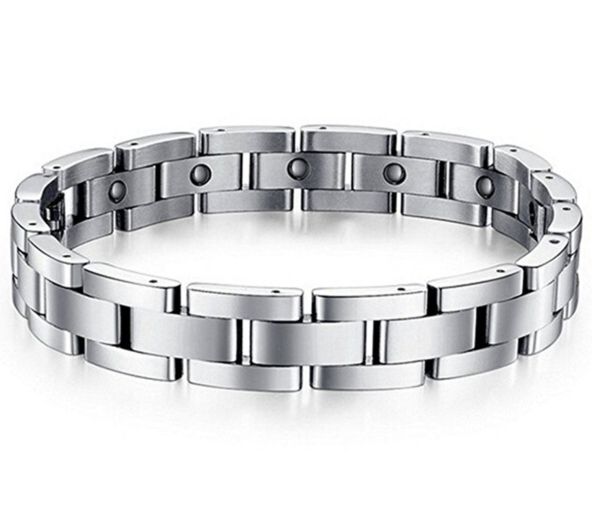 Feraco Men Sleek Magnetic Therapy Bracelet Pain Relief For Arthritis with Link Removal Tool,9 inch by Feraco (Image #2)