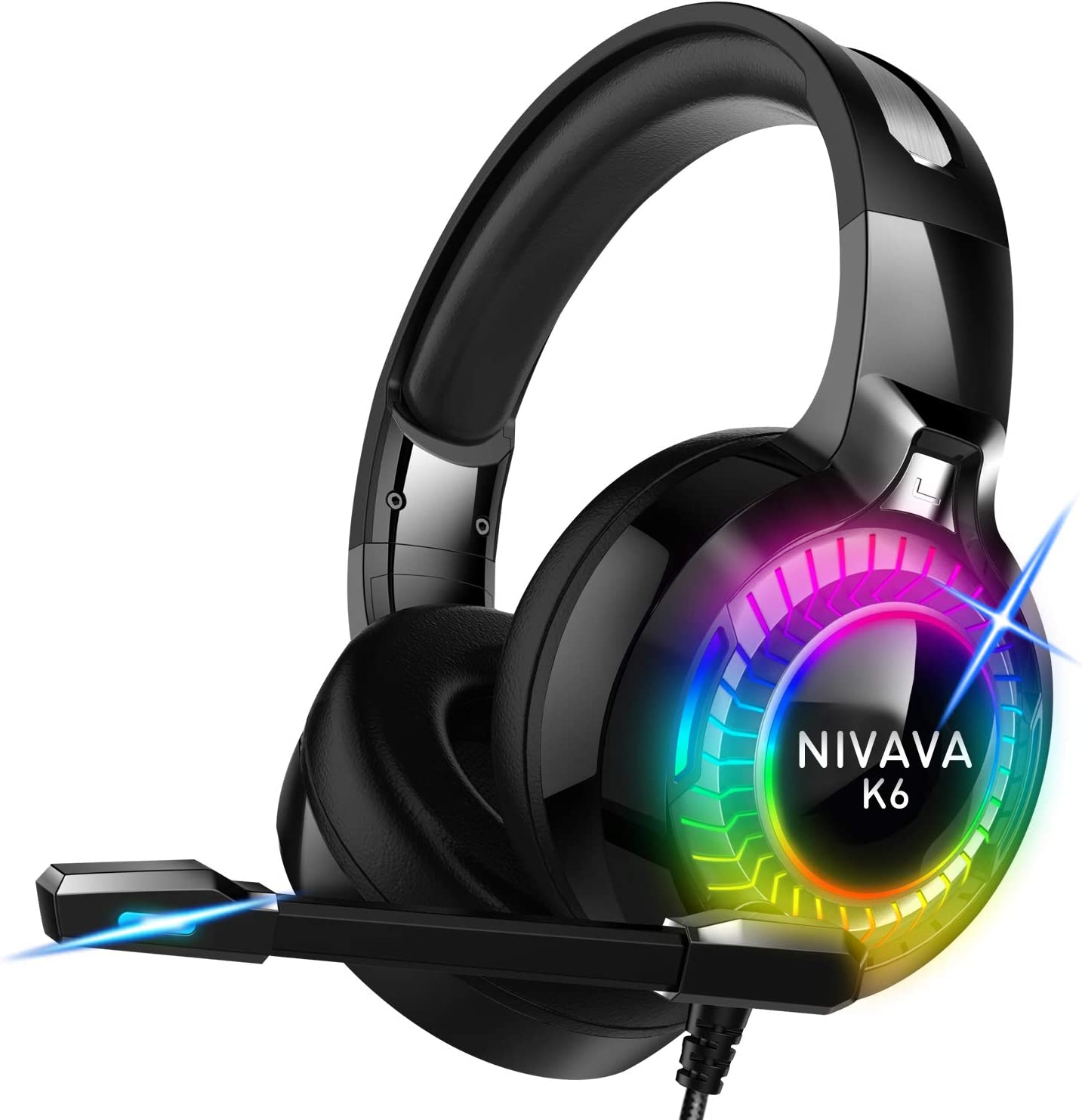 Nivava Gaming Headset for PS4, Xbox One, PC Headphones with Microphone LED Light Mic for Nintendo Switch Playstation Computer, K6(Black)