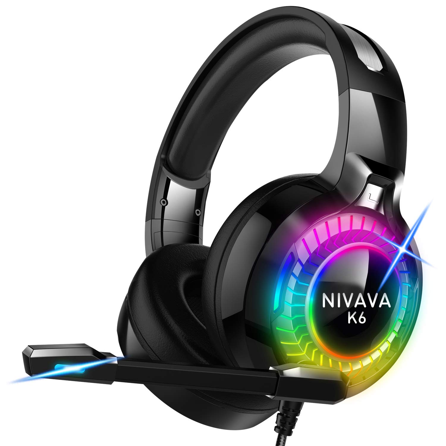 Nivava Gaming Headset for PS4, Xbox One, PC Headphones with Microphone LED Light Mic for Nintendo Switch Playstation…