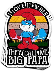3 PCs Stickers Funny Vintage Sunset The Smurfs I Love It When They Call Me Big Papa 4×3 Inch Die-Cut Decals for Laptop Window