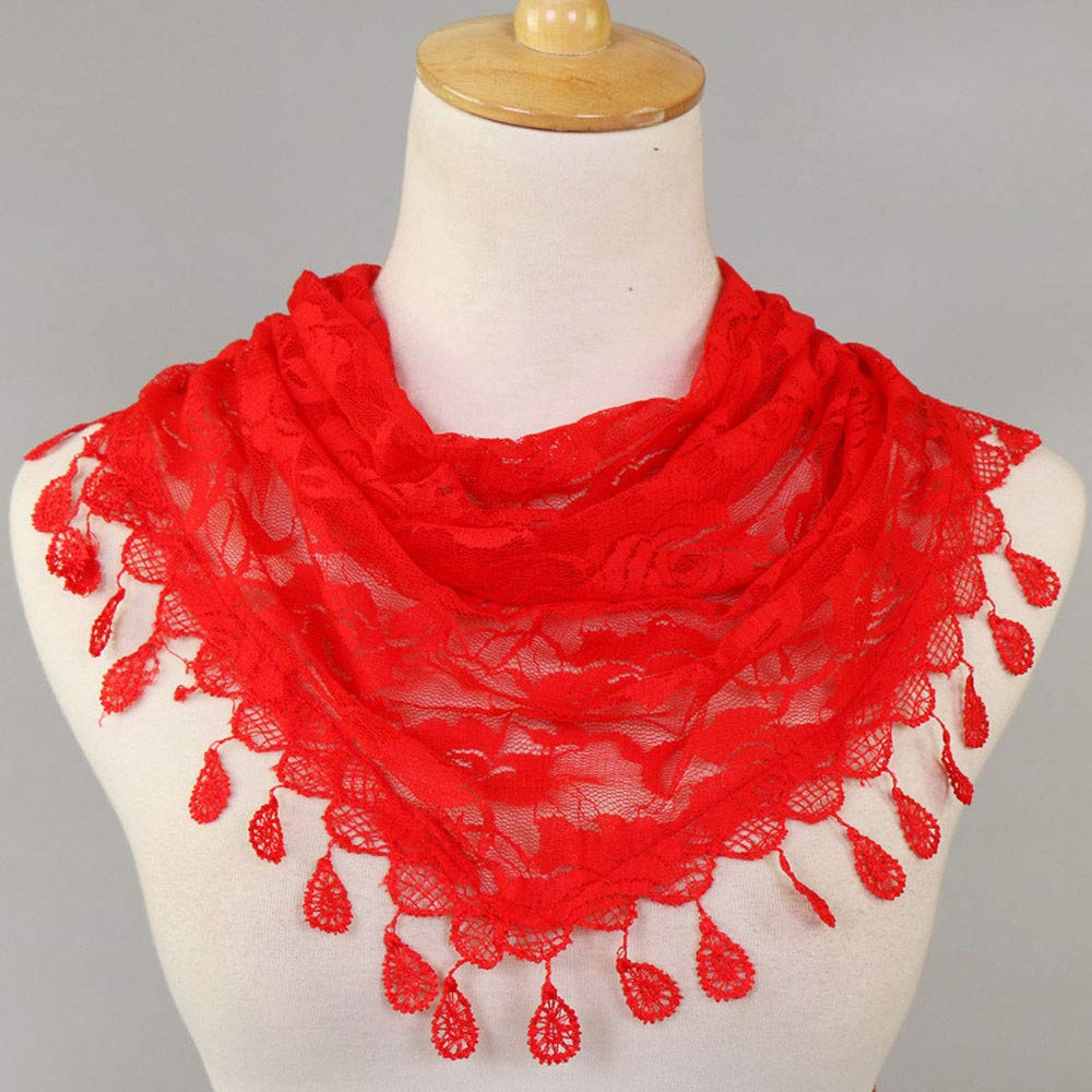 Clearance Sale!❄❄Women Clearance Lace Tassel Rose Floral Hollow Scarf Shawl Lady Wraps Scarves (Red) by Maonet (Image #3)