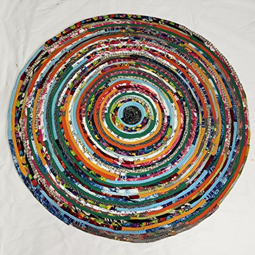 Multicolor Floor Rug, Handmade, Round Rug Floor Covering