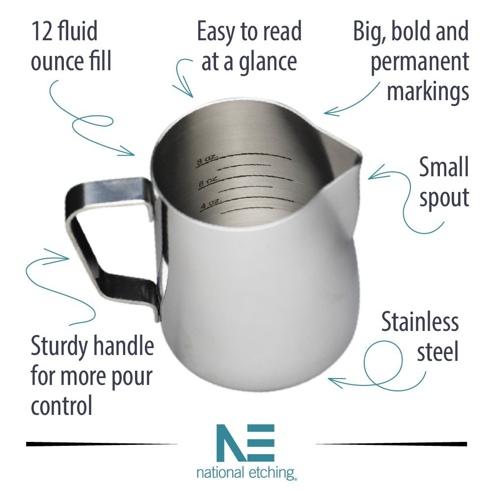 12 oz Stainless Steel Frothing Pitcher with Graduated Interior Markings by National Etching (Image #2)