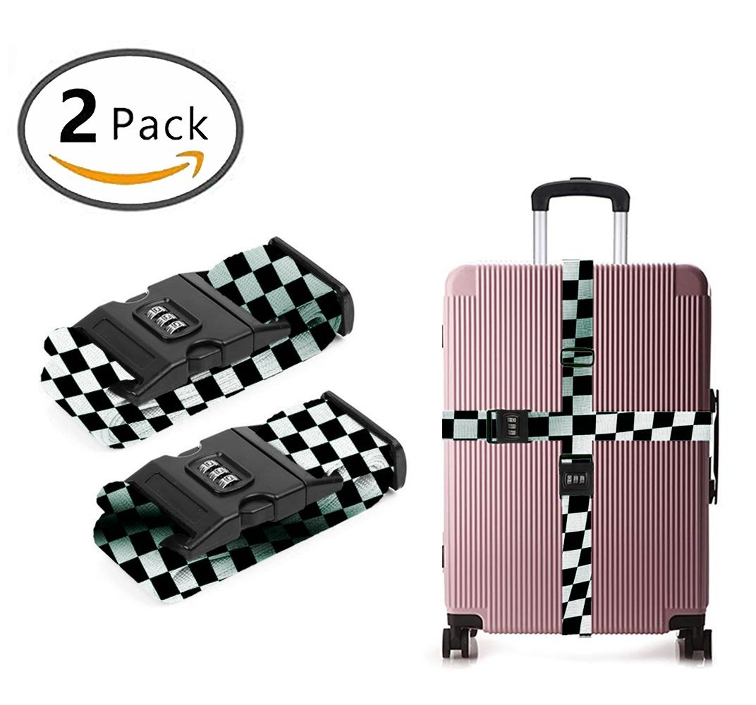 SWEET TANG Luggage Strap Combination Lock Adjustable Suitcase Travel Belt Waving Checkered Flag